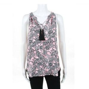 Cooper and Ella pink and black tank with tassel